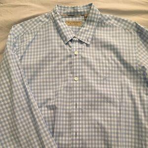 Burberry blue and white checkered dress shirt